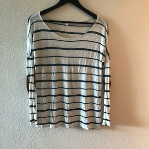 Like New! Pinkblush Striped Top With Elbow Patches